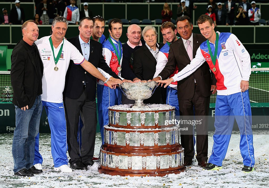 Team captain Jaroslav Navratil, Radek Stepanek,Tomas Berdych, Lukas Rosol,Ivo Minar of Czech Republic and 1980 winning team Pavel Korda team captain,Jan Kodes,Pavel Slozil, Tomas Smid and Ivan Lendl pose by the winners trophy after a 3-2 victory against Spain during day three of the final Davis Cup match between Czech Republic and Spain at the 02 Arena on November 18, 2012 in Prague, Czech Republic.