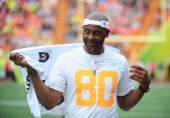 Team Captain Jerry Rice of Team Rice watches the action against the Team Sanders during the 2014 Pro Bowl at Aloha Stadium on January 26 2014 in...