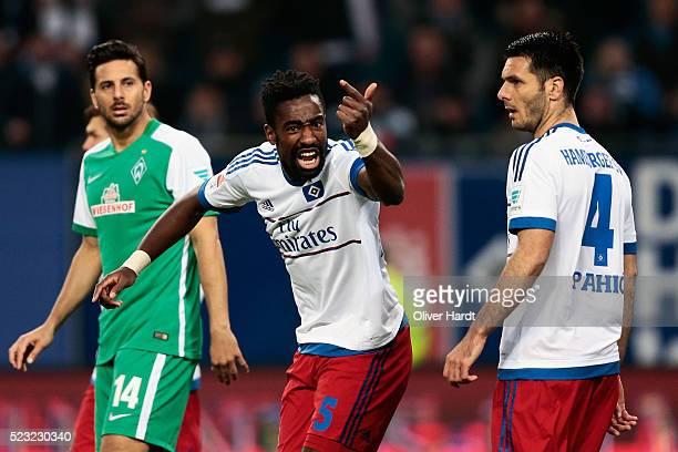Team captain Johan Djourou of Hamburg reacts during the Bundesliga match between Hamburger SV and Werder Bremen at Volksparkstadion on April 22 2016...