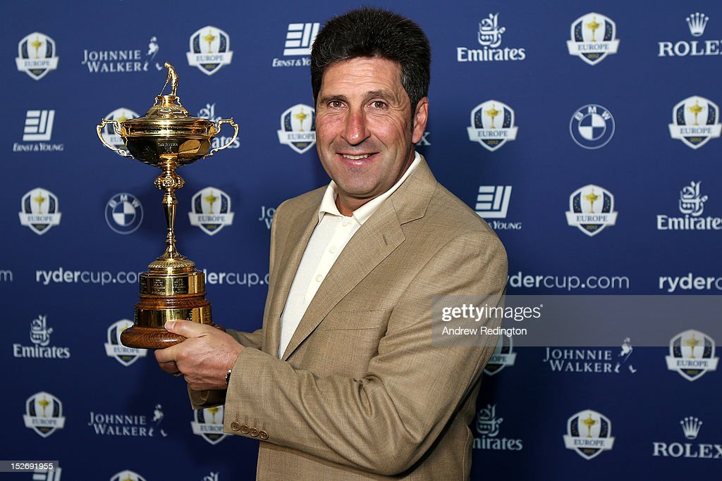 Team Captain <a gi-track='captionPersonalityLinkClicked' href=/galleries/search?phrase=Jose+Maria+Olazabal&family=editorial&specificpeople=176521 ng-click='$event.stopPropagation()'>Jose Maria Olazabal</a> poses with the Ryder Cup as the Europe team depart for the Ryder Cup from Heathrow Airport on September 24, 2012 in London, England.