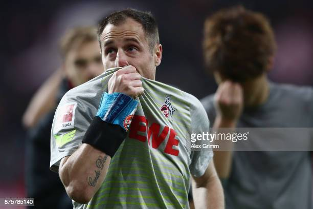 Team captain Matthias Lehmann of Koeln reacts after the Bundesliga match between 1 FSV Mainz 05 and 1 FC Koeln at Opel Arena on November 18 2017 in...