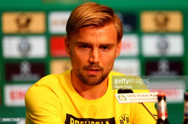 Team captain of Borussia Dortmund Marcel Schmelzer looks on during the DFB Cup Final 2017 press conference at Olympiastadion on May 26 2017 in Berlin...