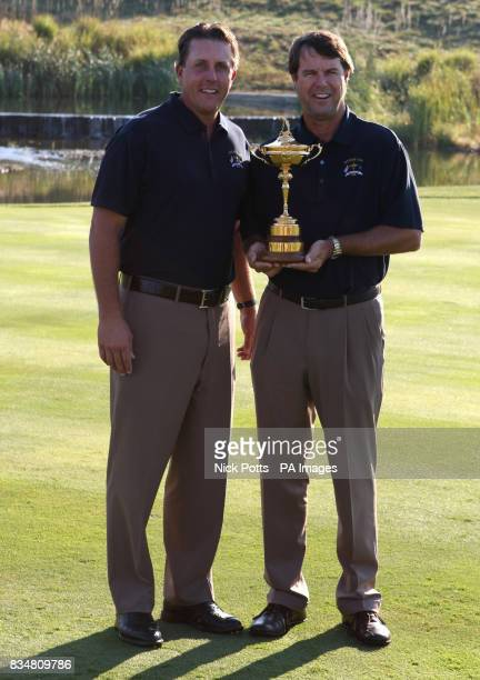 USA team captain Paul Azinger and Phil Mickelson with the Ryder Cup at Valhalla Golf Club Louisville USA