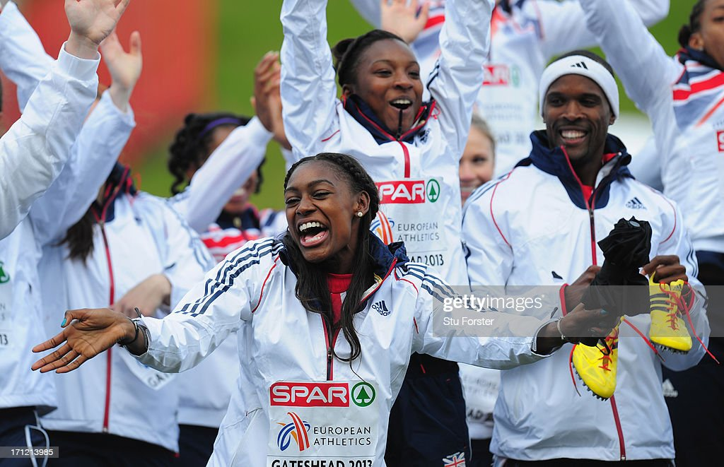 Team captain <a gi-track='captionPersonalityLinkClicked' href=/galleries/search?phrase=Perri+Shakes-Drayton&family=editorial&specificpeople=4542235 ng-click='$event.stopPropagation()'>Perri Shakes-Drayton</a> (c) celebrates with the rest of the Great Britain team after they had finished third after day two of the European Athletics Team Championships at Gateshead International Stadium on June 23, 2013 in Gateshead, England.