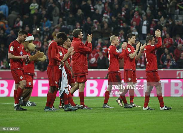 Team captain Philipp Lahm of Bayern Muenchen and his teammates Xabi Alonso Kingsley Coman Rafinha Thomas Mueller Sebastian Rode and Robert...
