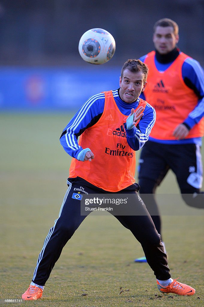 Team captain Rafael van der Vaart in action during the training session of Hamburger SV on February 11, 2014 in Hamburg, Germany.