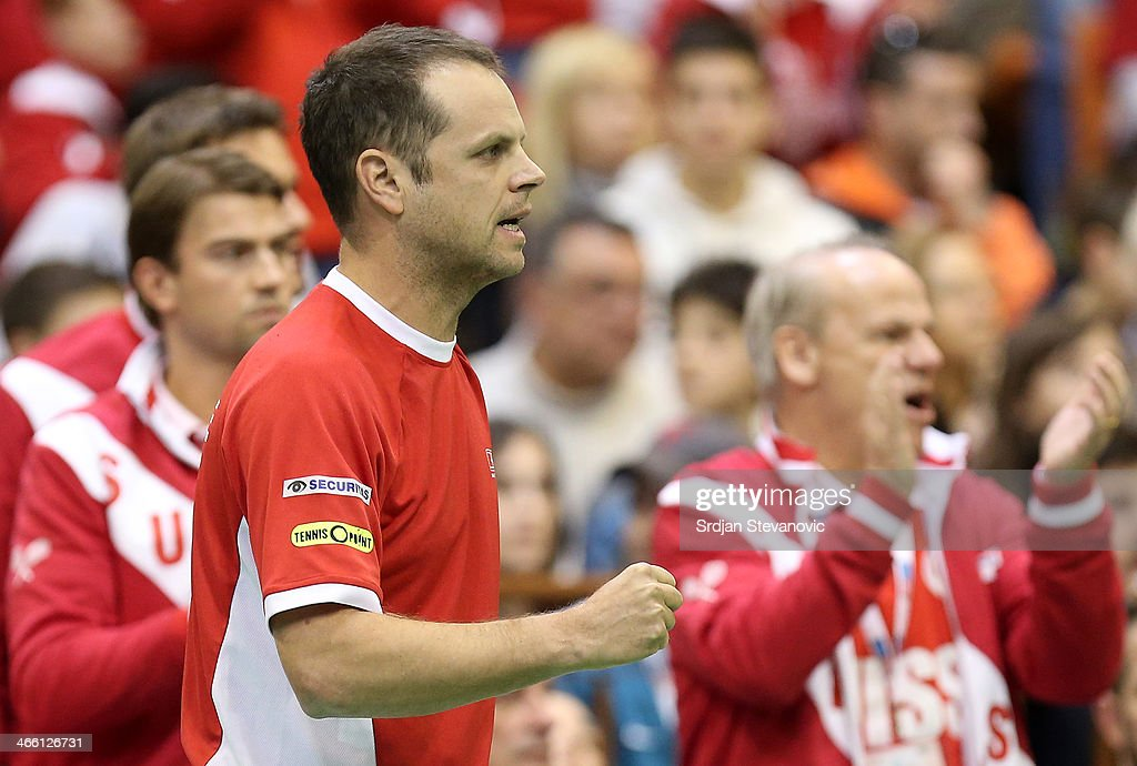 Team captain Severin Luthi (C) of Switzerland reacts during the match between Stanislas Wawrinka of Switzeraland and Dusan Lajovic of Serbia during day one of the Davis Cup match between Serbia and Switzerland on January 31, 2014 in Novi Sad, Serbia.