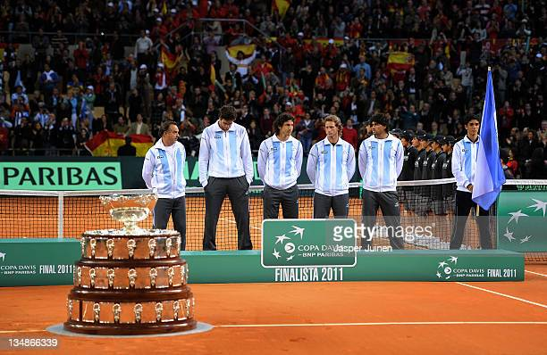 Team captain Tito Vazquez of Argentina stands with Juan Martin del Potro as they stand with Juan Monaco David Nalbandian and Eduardo Schwank besides...