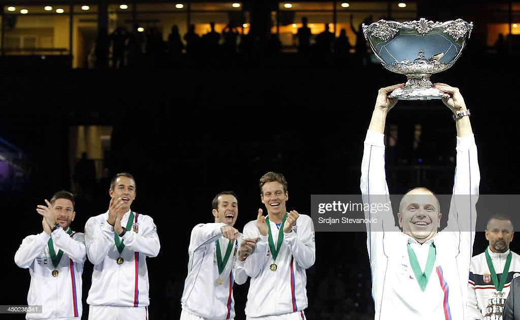 Team captain Vladimir Safarik (C) of Czech Republic hold the winners trophy aloft after a 3-2 victory against Serbia during the award ceremony of the Davis Cup World Group Final between Serbia and Czech Republic at Kombank Arena on November 17, 2013 in Belgrade, Serbia.