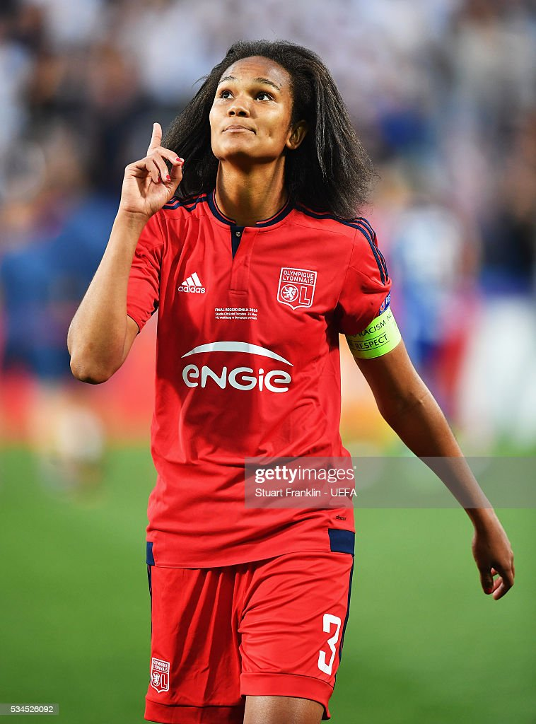 Team captain <a gi-track='captionPersonalityLinkClicked' href=/galleries/search?phrase=Wendie+Renard&family=editorial&specificpeople=5780578 ng-click='$event.stopPropagation()'>Wendie Renard</a> of Lyon celebrates after the UEFA Women's Champions League Final at Mario Rigamonti Stadium on May 26, 2016 in Brescia, Italy.