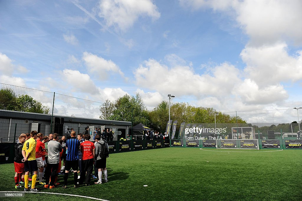 Team captains attend a briefing during the FA Fives at Power League Community on May 12, 2013 in Basingstoke, England.