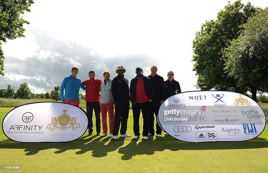 Team captains James Phelps, Jesse Metcalfe, Jamie Bamber, Samuel L Jackson, Richard Roundtree, Sir Steven Redgrave and Aidan Quinn look on during the Affinity Real Estate Shooting Stars Second Round at The Grove Hotel on June 15, 2013 in Hertford, England.