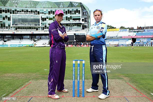 Team captains Lauren Winfield of Yorkshire and Georgia Elwiss of Loughborough pose for their photograph prior to the inaugural Kia Super League...