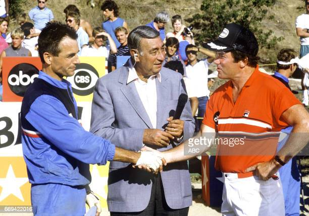 Team captains Mark Harmon and William Shatner shook hands before the competition began on 'Battle of the Network Stars XVII' Also pictured host...