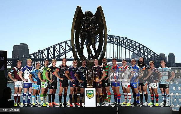 Team captains of the NRL line up for a photo with the premiership trophy during the 2016 NRL Season Launch at Sydney Botanical Gardens on February 25...