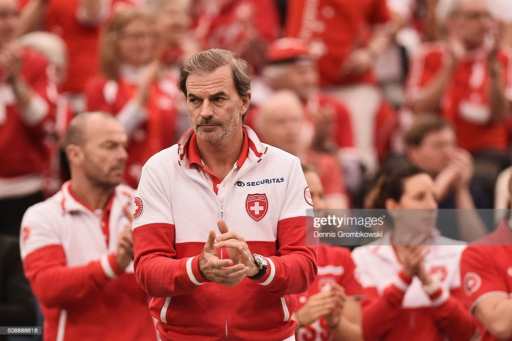 Team captian Heinz Guenthardt of Switzerland reacts during Day 2 of the 2016 FedCup World Group Round 1 match between Germany and Switzerland at Messe Leipzig on February 7, 2016 in Leipzig, Germany.