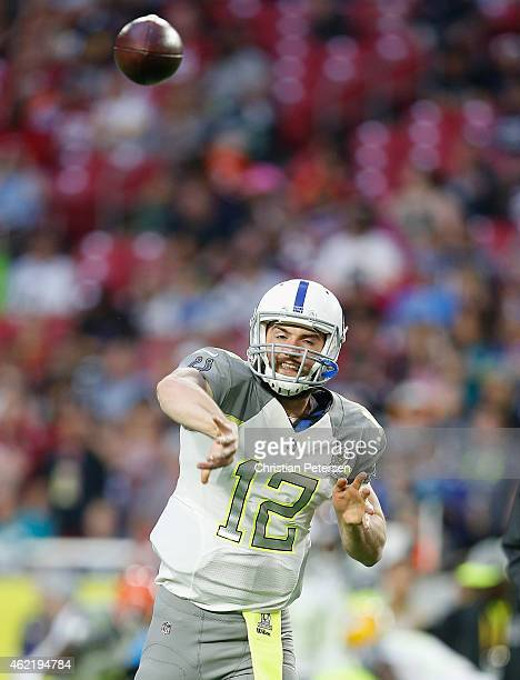 Team Carter quarterback Andrew Luck of the Indianapolis Colts warms up before the 2015 Pro Bowl at University of Phoenix Stadium on January 25 2015...