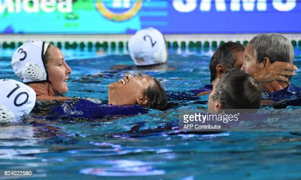 US team celebrates their victory over Spain in 'Hajos Alfred' swimming pool of Budapest on July 28 2017 after the woman final of FINA2017 world...