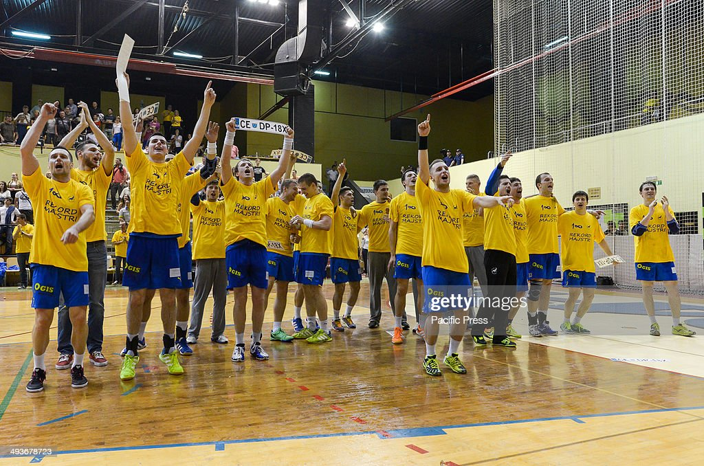 Team Celje celebrating their victory and first place in Slovenian National cup Team Celje won the National Cup for the 18th time in their history...