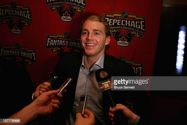 Team Chara foward Patrick Kane of the Chicago Blackhawks is interviewed by the media following the 2012 NHL AllStar Game Fantasy Draft at Hilton Lac...