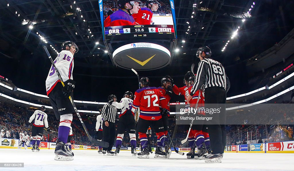 Team Cherry players celebrate their empty net goal against Team Orr during the third period of their Sherwin-Williams CHL/NHL Top Prospects Game at the Videotron Center on January 30, 2017 in Quebec City, Quebec, Canada.