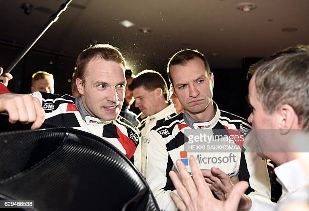 Team chief former Rally World Champion Tommi Makinen speaks to his next season's drivers JariMatti Latvala and Juho Hänninen during the presentation...