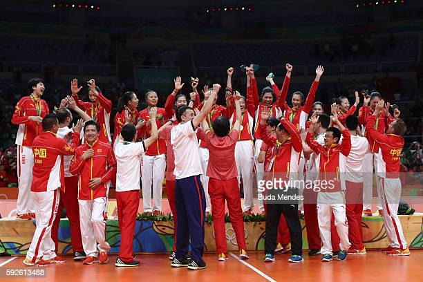 Team China celebrates after winning gold during the Women's Gold Medal Match between Serbia and China on Day 15 of the Rio 2016 Olympic Games at the...