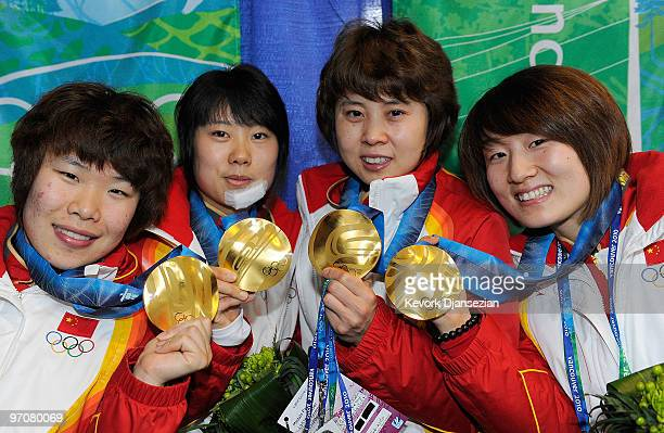 Team China celebrates receiving the gold medal during the medal ceremony for the ladies' 3000 m relay short track on day 14 of the Vancouver 2010...