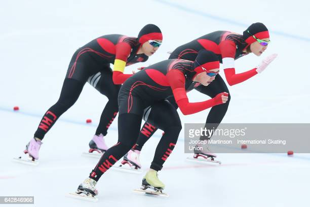 Team China compete in the ladies team pursuit during day three of the World Junior Speed Skating Championships at Oulunkyla Sports Park on February...