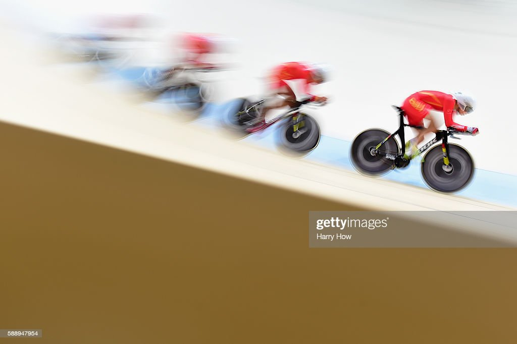 Team China competes in the Men's Team Pursuit on Day 7 of the Rio 2016 Olympic Games at the Rio Olympic Velodrome on August 12, 2016 in Rio de Janeiro, Brazil.