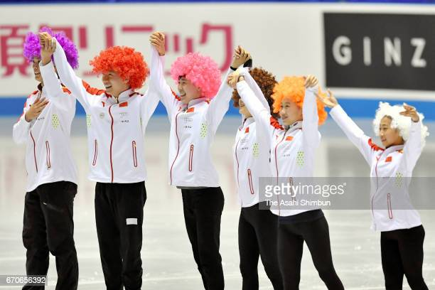 Team China is introduced at the opening ceremony during day one of the ISU World Team Trophy 2017 at Yoyogi National Gymnasium on April 20 2017 in...