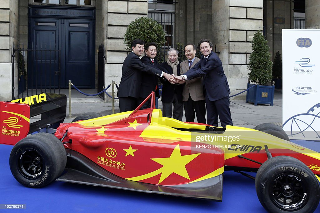 Team China Racing CEO Steven Lu, Team China Racing Chairman Yu liu, President of the Federation International Automobile Jean Todt, Chinese Embassy's First secretary Liang Jian Sheng, and Formula E Holdings (FEH) CEO, Alejandro Agag pose after at press conference to present the second team of the electric car Formula E motor racing competition on February 27, 2013 in Paris. Promoters of the fledgling electric car Formula E unveiled China Racing as the second team to sign up for next year's inaugural world championship. The Chinese outfit joins British team Drayson Racing for the new format starting in 2014 that will feature cars powered solely by electricity.