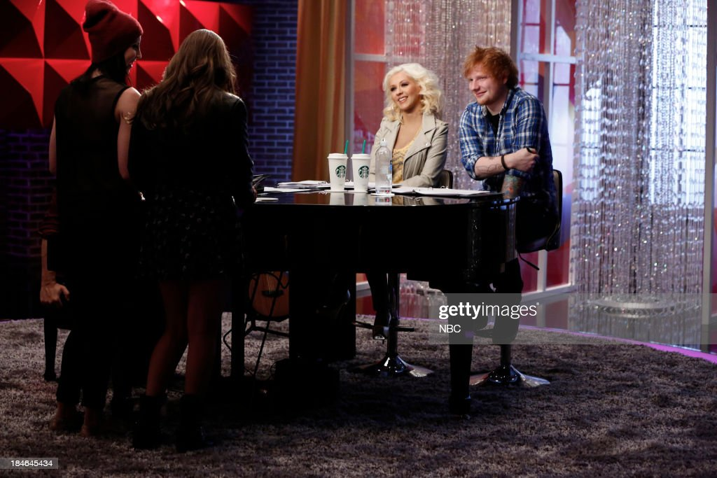 THE VOICE -- 'Team Christina Battle Reality' Episode 507 -- Pictured: (l-r) Briana Cuoco, Jacquie Lee, Christina Aguilera, Ed Sheeran --
