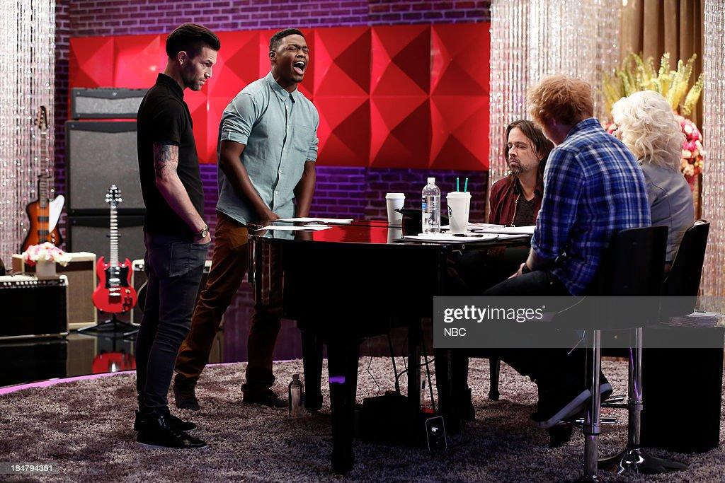 THE VOICE -- 'Team Christina Battle Reality' Episode 508 -- Pictured: (l-r) Jacob Poole, Matthew Schuler, Paul Mirkovich, Ed Sheeran, Christina Aguilera --