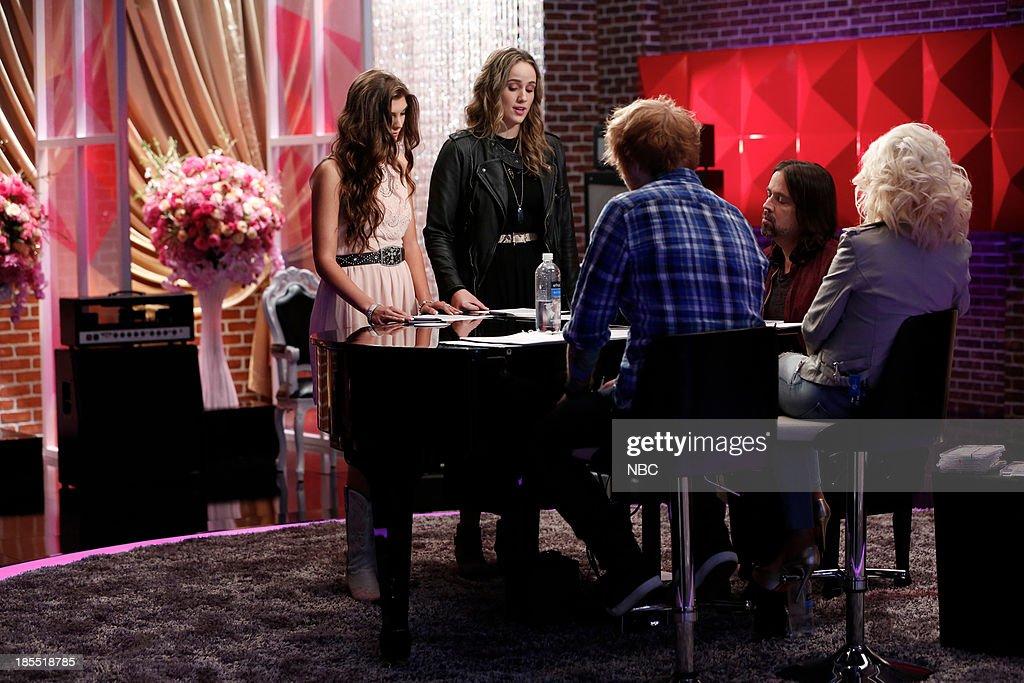 THE VOICE -- 'Team Christina Battle Reality' Episode 509 -- Pictured: (l-r) Destinee Quinn, Lina Gaudenzi, Ed Sheeran Paul Mirkovich, Christina Aguilera --