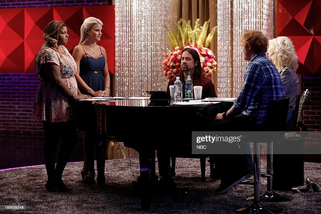 THE VOICE -- 'Team Christina Battle Reality' Episode 510 -- Pictured: (l-r) Stephanie Anne Johnson, Olivia Henken, Paul Mirkovich, Ed Sheeran, Christina Aguilera --