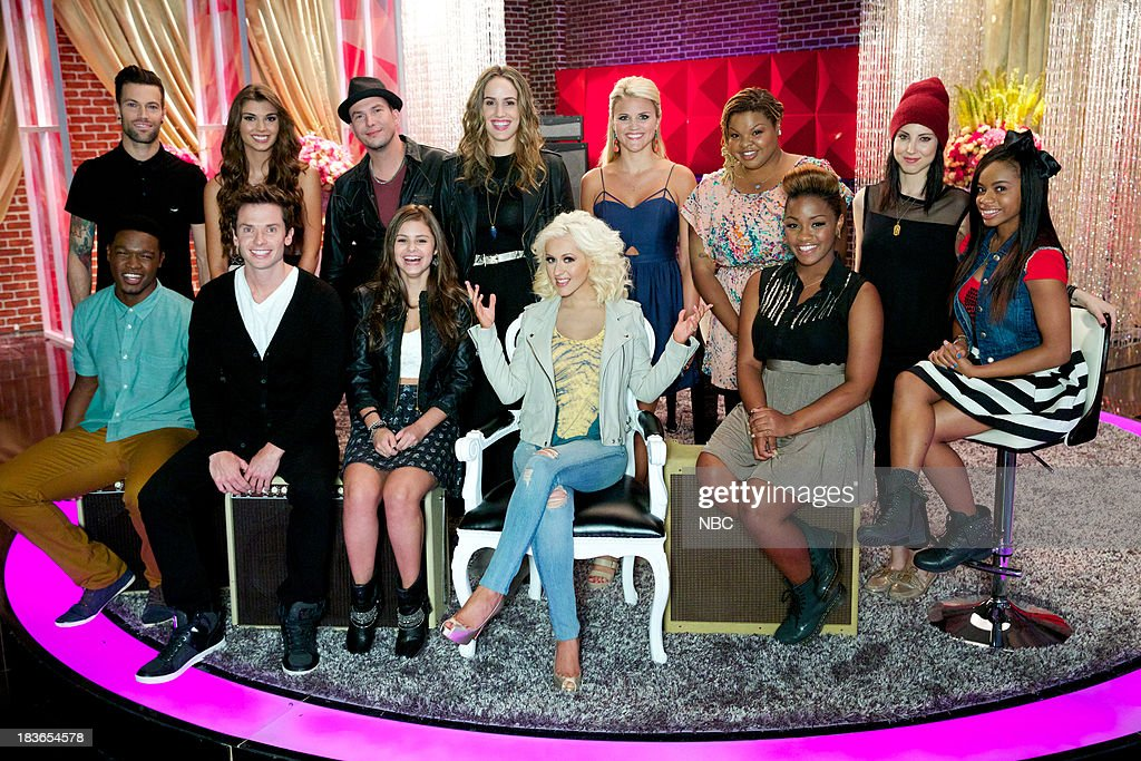 THE VOICE -- 'Team Christina Battle Reality' -- Pictured: (l-r) Back Row: Jacob Poole, Destinee Quinn, Josh Logan, Lina Gaudenzi, Olivia Henken, Stephanie Anne Johnson, Briana Cuoco, Timyra-Joi; Front Row: Matthew Schuler, Michael Lynch, Jacquie Lee, Christina Aguilera, Amber Nicole --