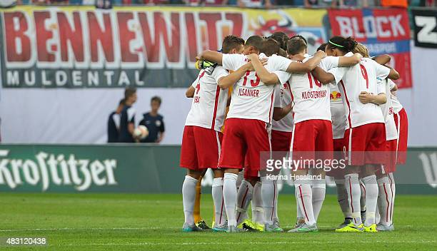 Team circle of Leipzig during the Second Bundesliga match between RB Leipzig and SpVgg Greuther Fuerth at Red Bull Arena on August 3 2015 in Leipzig...