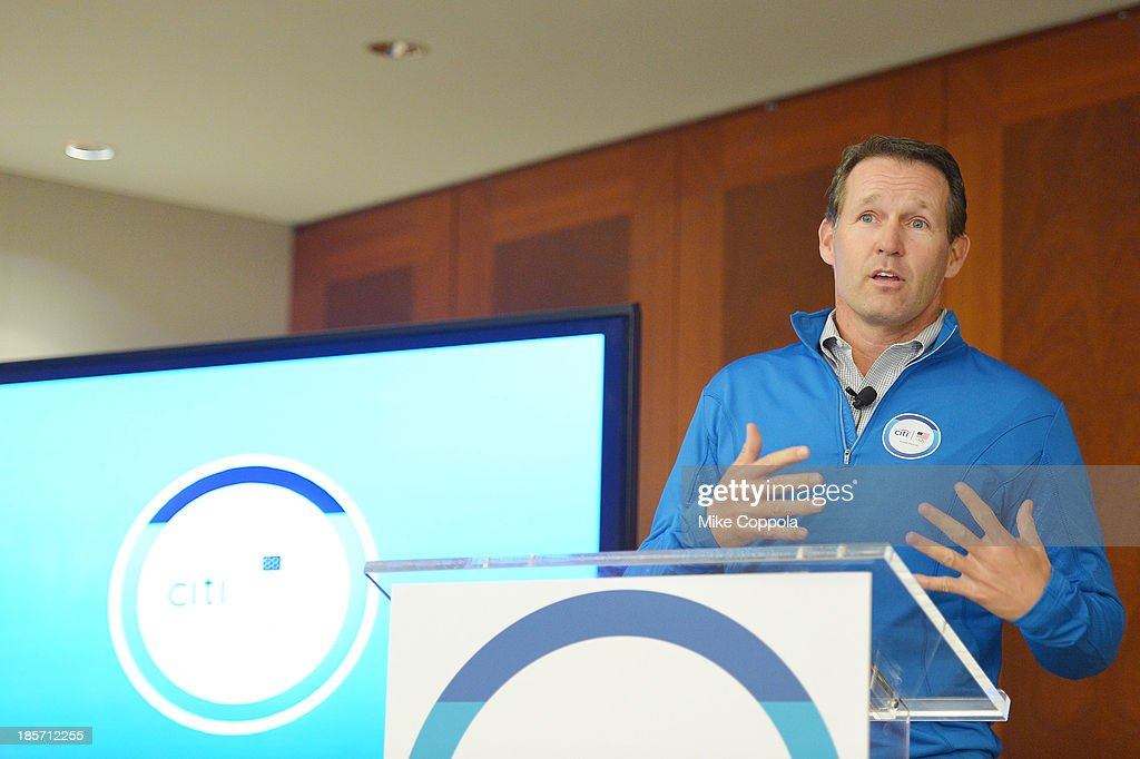 Team Citi athlete <a gi-track='captionPersonalityLinkClicked' href=/galleries/search?phrase=Dan+Jansen&family=editorial&specificpeople=235919 ng-click='$event.stopPropagation()'>Dan Jansen</a> speaks at the Citi Every Step of the Way Launch at Citi on October 24, 2013 in New York City.