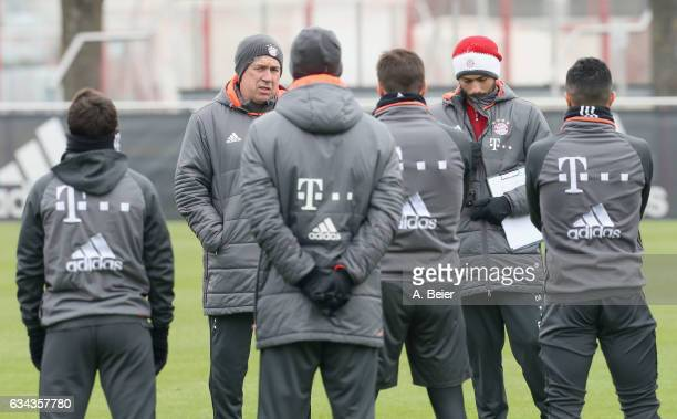 Team coach Carlo Ancelotti and his assistent coach and son Davide Ancelotti of FC Bayern Muenchen are pictured during a training session at the...