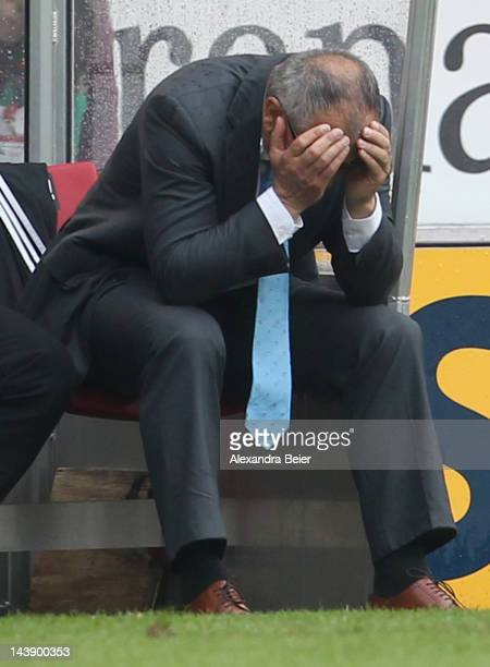 Team coach Felix Magath of Wolfsburg reacts during the Bundesliga match between VfB Stuttgart and VfL Wolfsburg at MercedesBenz Arena on May 5 2012...
