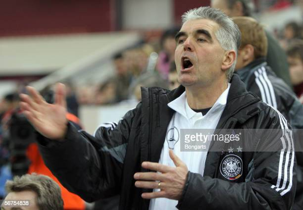 Team coach Frank Engel of Germany gestures during the men's Under 18 match between Germany and Russia at the International St Petersburg Under 18...