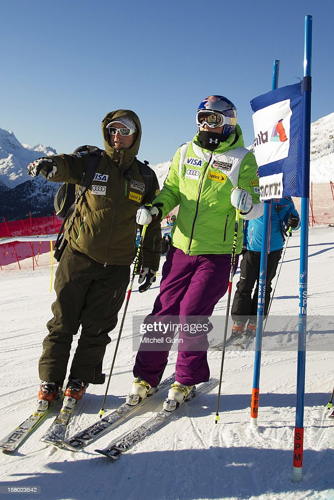 US Team coach Jeff Fergus briefs Lindsey Vonn before the Audi FIS Alpine Ski World Giant Slalom race on December 9 2012 in St Moritz, Switzerland.