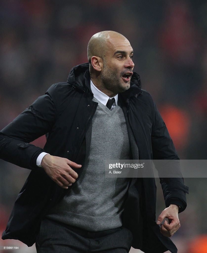 Team coach Josep Guardiola of Bayern Muenchen celebrates the team's second goal during the Champions League round of 16 second leg match between FC Bayern Muenchen and Juventus Turin at Allianz Arena on March 16, 2016 in Munich, Germany.