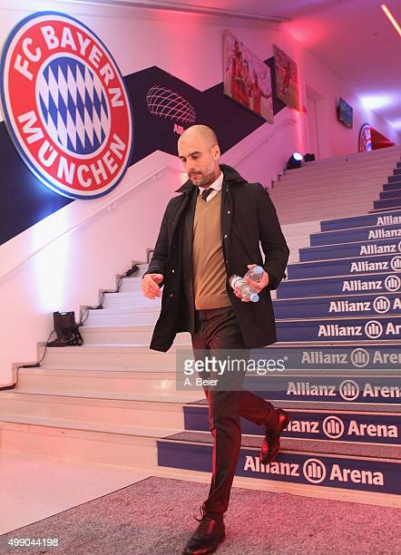 Team coach Josep Guardiola of Bayern Muenchen leaves the players' tunnel for the Bundesliga match between FC Bayern Muenchen and Hertha BSC at...