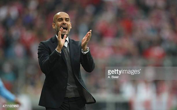 Team coach Josep Guardiola of Bayern Muenchen reacts during the Bundesliga match between FC Bayern Muenchen and Hertha BSC at Allianz Arena on April...