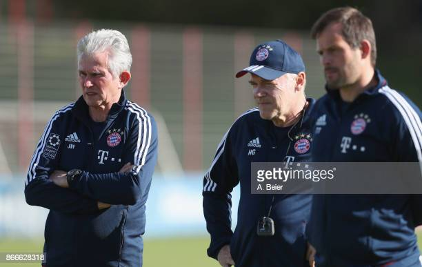 Team coach Jupp Heynckes assistent coach Hermann Gerland and goalkeeper coach Toni Tapalovic of FC Bayern Muenchen are pictured during a training...