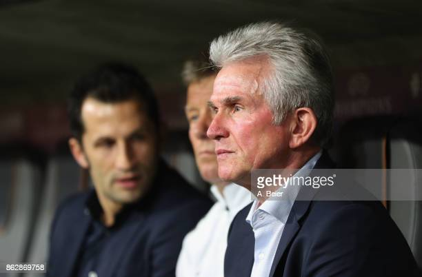 Team coach Jupp Heynckes assistent coach Peter Hermann and sport director Hasan Salihamidzic of FC Bayern Muenchen are pictrued before the UEFA...