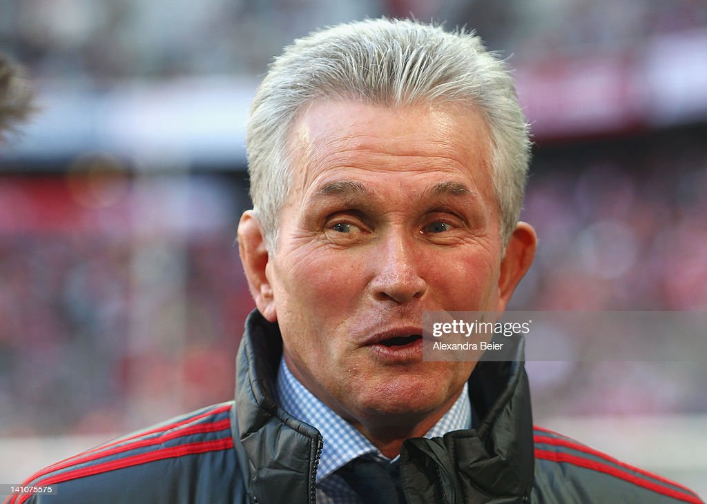 Team coach <a gi-track='captionPersonalityLinkClicked' href=/galleries/search?phrase=Jupp+Heynckes&family=editorial&specificpeople=2062040 ng-click='$event.stopPropagation()'>Jupp Heynckes</a> of Bayern Muenchen smiles before the Bundesliga match between FC Bayern Muenchen and 1899 Hoffenheim at Allianz Arena on March 10, 2012 in Munich, Germany.