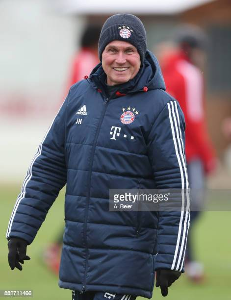 Team coach Jupp Heynckes of FC Bayern Muenchen smiles during a training session at the club's Saebener Strasse training ground on November 30 2017 in...